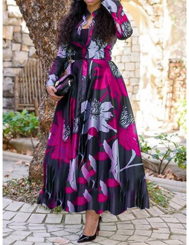 Ankle-Length Print Long Sleeve Floral Pullover Women's Dress