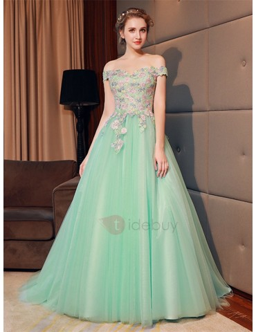 A-Line Flowers Off-the-Shoulder Quinceanera Dress