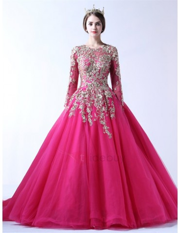Appliques Jewel Long Sleeves Quinceanera Dress