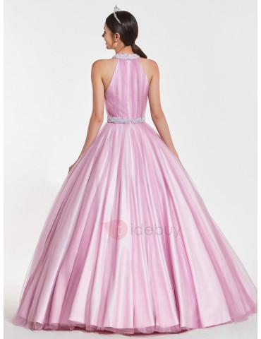 A-Line Beaded Jewel Pearls Quinceanera Dress