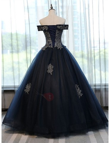 Attractive Ball Gown Off-the-Shoulder Appliques Lace-Up Quinceanera Dress