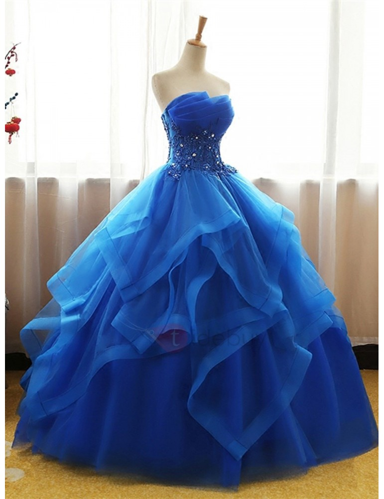 Scalloped-Edge Appliques Beading Quinceanera Dress