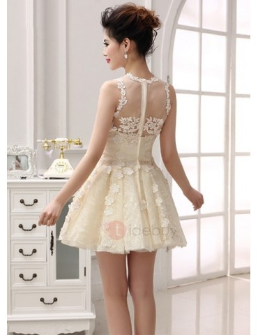 A-Line Jewel Lace Appliques Short Homecoming Dress