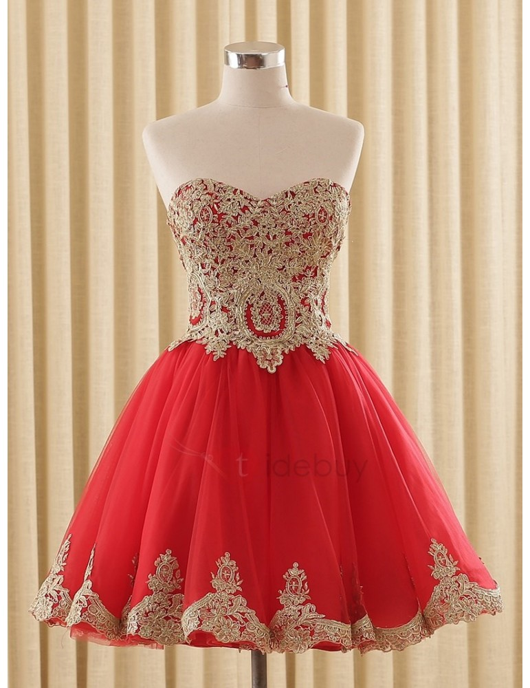 A-Line Sweetheart Appliques Lace-Up Homecoming Dress