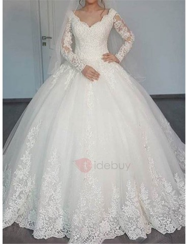 Appliques Muslim Wedding Dress with Long Sleeve