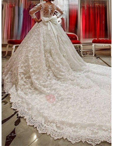 3/4 Length Sleeve Lace Ball Gown Wedding Dress