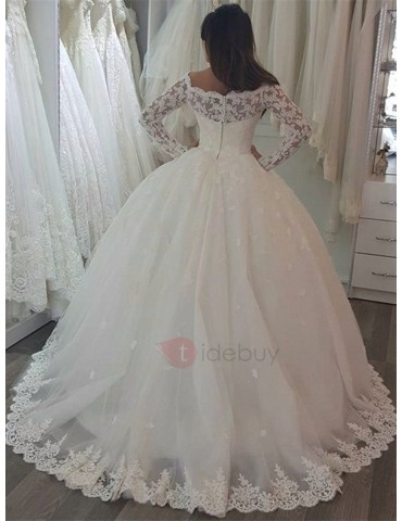 Appliques Ball Gown Long Sleeve Vintage Wedding Dress