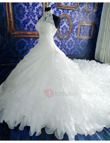 Appliques Cascading Ruffles Pearls Ball Gown Wedding Dress
