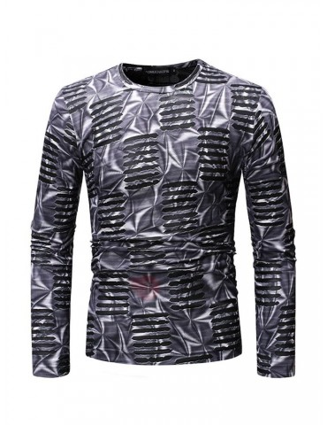 Casual Round Neck Long Sleeve Men's T-shirt