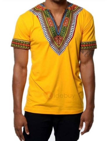 African Fashion Dashiki Print Short Sleeve Men's T-Shirt