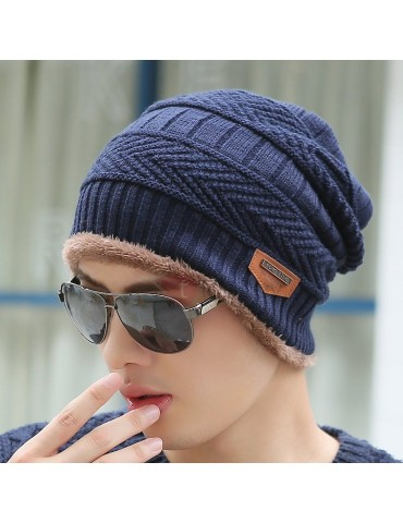 Dome Knitted Twisted Pattern Men's Hat