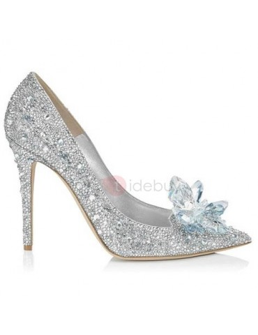 Eye-catching Point Toe Crystal Cinderella Wedding Shoes