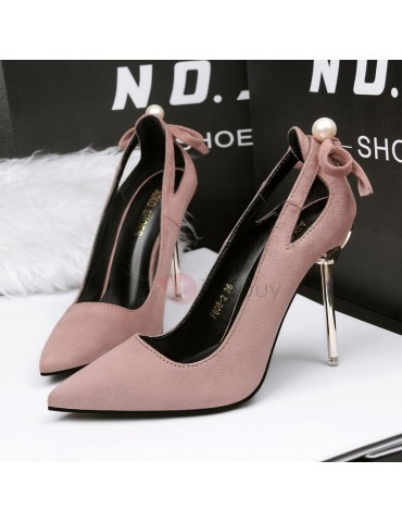 Bow Beads Pointed Toe Stiletto Heel Pumps