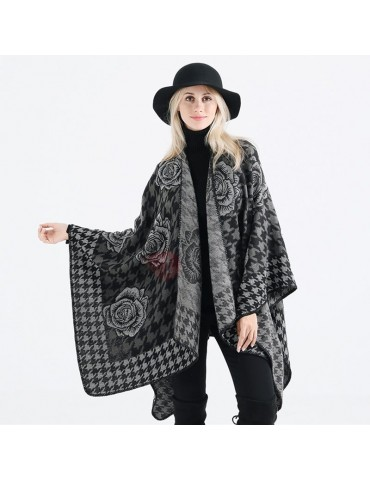 Floral Plaid Patchwork Loose Capes Euroamerica Wrapped Shawl