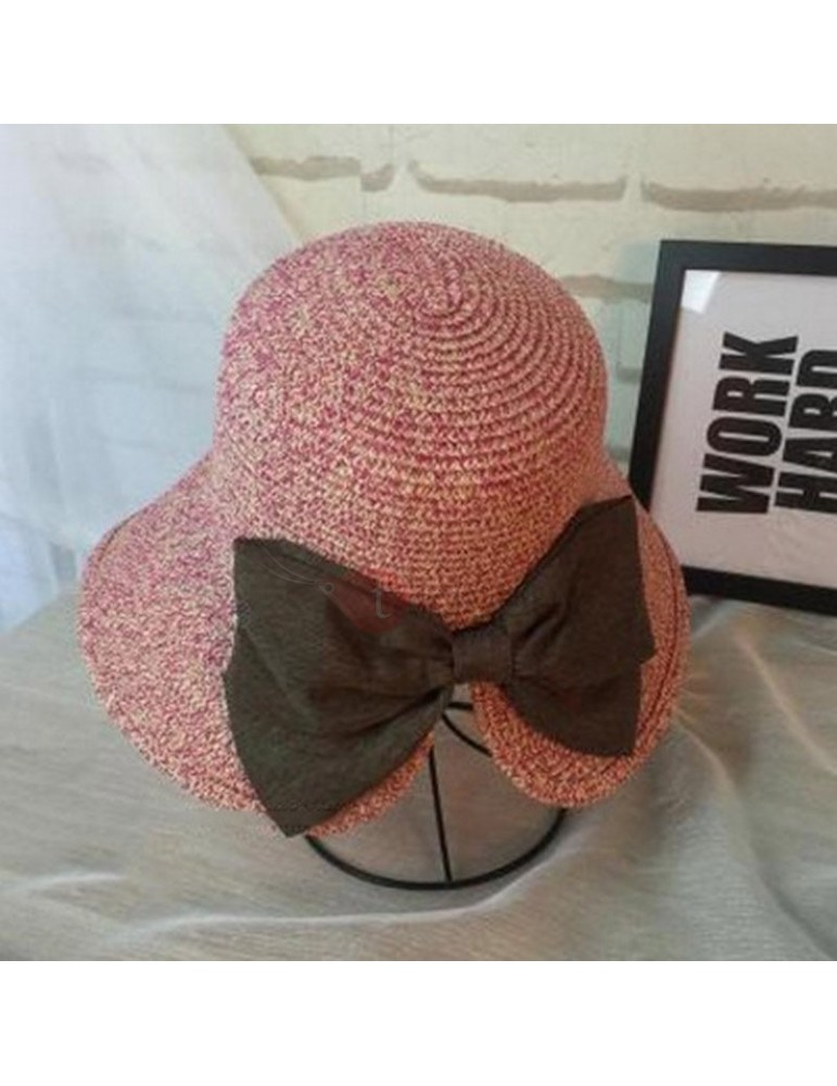 Bowknot Design Wide Brim Summer Straw Hat
