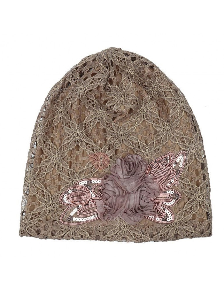 Butterfly Sequins Lace Breathable Skullies & Beanies Hats