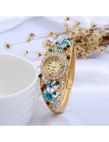 Colored Rhinestone Shape Lady Bracelet Watch
