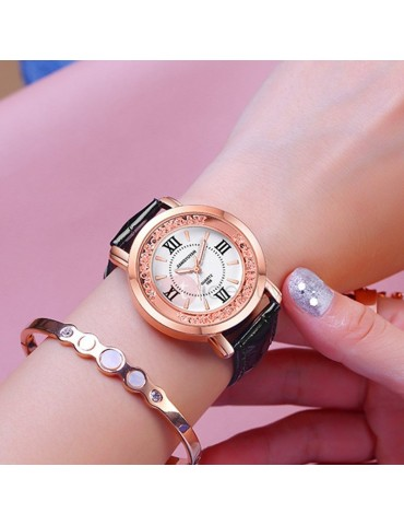 Chic Annular Rhinestone Decorated PU Band Student Watch