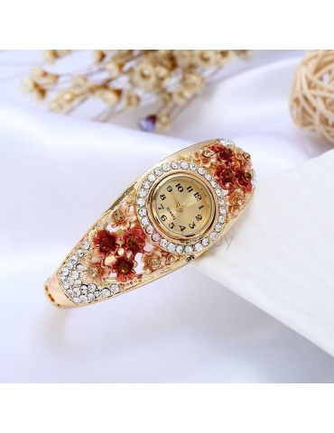 Colored Drawing Floral Shape Court Style Bracelet Watch