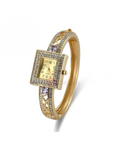 Diamante Glass Quartz Surface Iridescence Rhinestone Hollow Alloy Band Bangle Watches