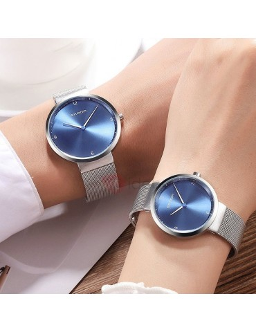 Concise Analogue Display Steel Mesh Lovers' Watch