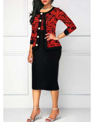 Button Up Three Quarter Sleeve Top and Printed Dress