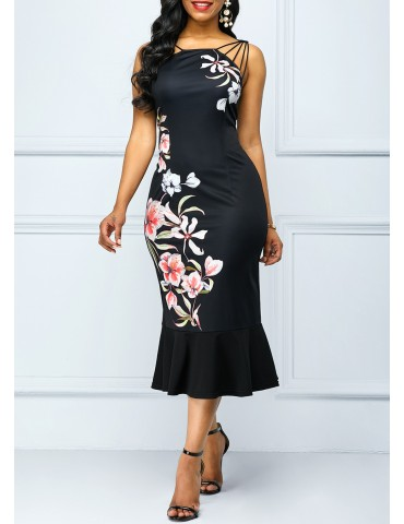 Zipper Back Flower Print Sheath Dress