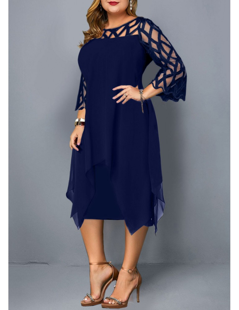 Plus Size Overlay Embellished Mesh Panel Dress