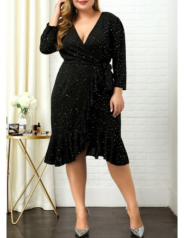 Sequin Embellished V Neck Plus Size Dress