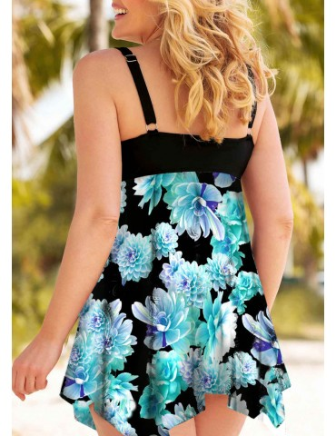 Open Back Printed Plus Size Swimdress and Shorts