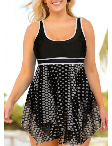Contrast Piping Plus Size Swimdress and Shorts