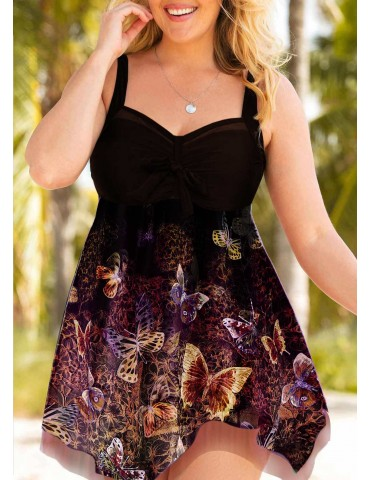 Bowknot Detail Butterfly Print Plus Size Swimdress and Shorts